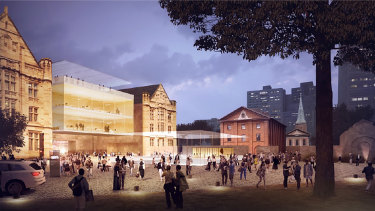 A concept design of the rear of the former Land Titles Building created for the 2017 master plan for the precinct.