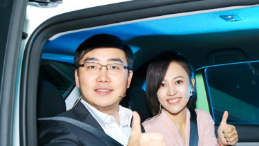 Cheng Wei, left, and Jean Liu, the president and chief executive of DiDi. The ride-hailing company is among a number of tech giants being targeted by the Chinese government.