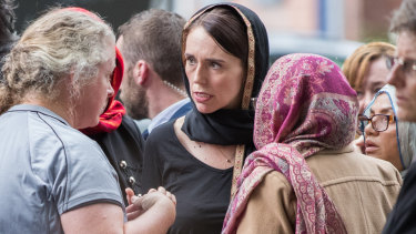 New Zealand Prime Minister Jacinda Ardern meets with some of the muslim community at the Hagley College after the Masjid Al Noor Mosque terror attack.