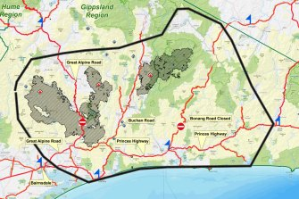 The area of East Gippsland, highlighted with the black line, likely to be affected by fires on Monday.