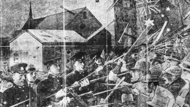 Police with bayonets stood between armed pro-British protesters and Russian refugees on the streets of South Brisbane  in the Red Flag riots of 1919.