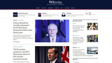 WAtoday's new homepage as of November 30, 2020.