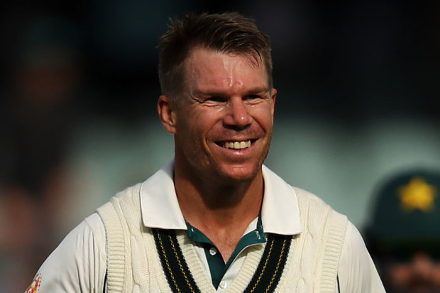 Winning grin: David Warner after scoring 335 not out for Australia in the second Test against Pakistan at the Adelaide Oval.