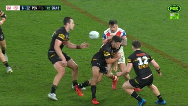 Nathan Cleary did not use much force with this shot on Jack Bird.