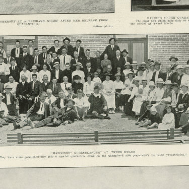 A page from the Queenslander Pictorial supplement to The Queenslander 15 February 1919, showing Queenslanders stranded in NSW following the border being closed.