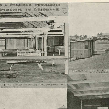 Page 25 of the Queenslander Pictorial, supplement to The Queenslander, 1 March, 1919, showing preparations for the Spanish Flu in Brisbane