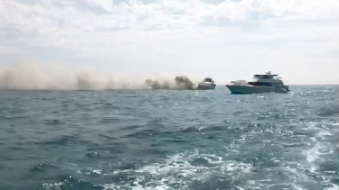 The boat on fire off Rottnest Island.
