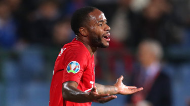 Raheem Sterling reacts during England's Euro 2020 qualifying win over Bulgaria in Sofia.