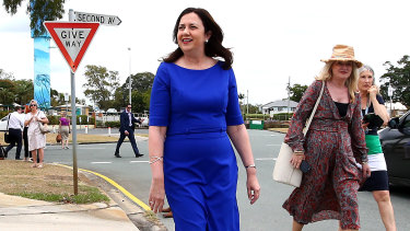 "Ms Palaszczuk says she doesn't need Anthony Albanese to ""hold her hand"" on the campaign trail."