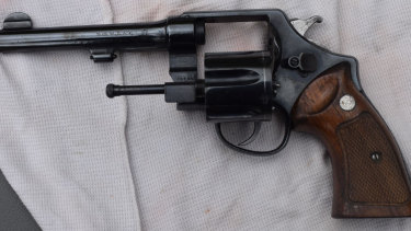 Supplied image of the 1917  Smith and Wesson US Army Revolver seized by police in November 2019.