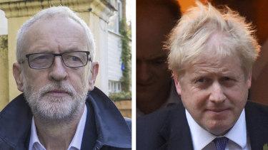 Opposition Leader Jeremy Corbyn and British Prime Minister Boris Johnson.