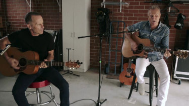 Mark Seymour and James Reyne during their performance in April's Music From The Home Front.