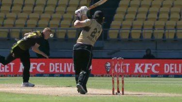 Riley Meredith came perilously close to being struck by a drive from New Zealand batsman Glenn Phillips.