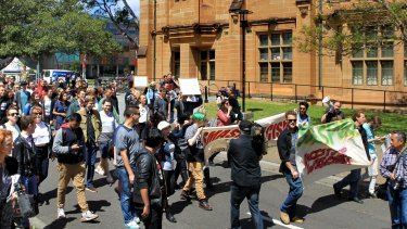 Students and staff opposed to a Ramsay Centre-funded course at Sydney University rally at the campus last month.