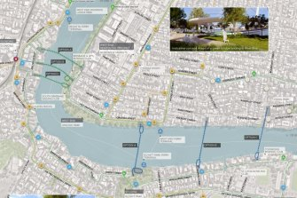 The two bridges between St Lucia and West End and Toowong and West End each have three options.