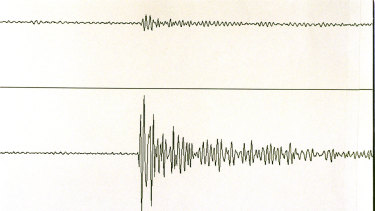 Graphs show the French nuclear tests as read by the Australian Seismological Centre's arrays in the Northern Territory. The top reading shows the test on 6 Sept; the lower trace is for Oct 2, 1995.