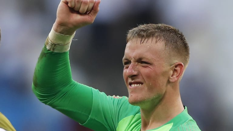 England goalkeeper Jordan Pickford came up through the lower leagues and is now with Everton.