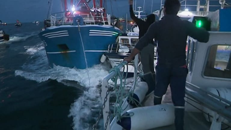 French and British boats clash off France's northern coast.