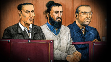 The accused men Ahmed Mohamed, Abdullah Chaarani and Hamza Abbas in court.