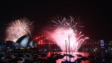 The 9pm fireworks as seen from Ms Macquarie's Chair.