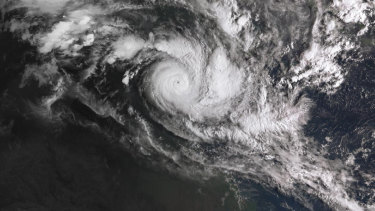A broader satellite view of TC Trevor on Tuesday morning. It is 75 kilometres wide.
