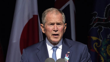 Former President George W. Bush speaks at the Flight 93 National Memorial in Shanksville, Pennsylvania.