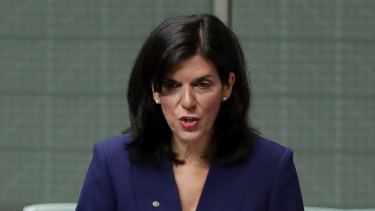 Julia Banks announcing her decision to quit the Liberal party and join the crossbench on Tuesday.