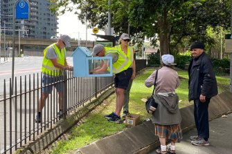 The Footpath Libraries team put a library up in Lang Park, which is frequented by people experiencing homelessness.