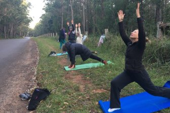 To get around COVID-19 lockdown restrictions, protesters took to yoga in a bid to stop the housing development.