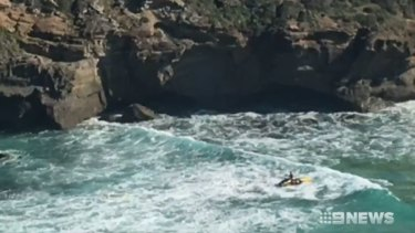 It's believed the 62-year-old man was swept into a sea cave.