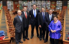 John Cain (left), with his fellow former  premiers Jeff Kennett, Ted Baillieu, Steve Bracks, John Brumby and Joan Kirner, in 2011.