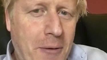 Britain's Prime Minister Boris Johnson speaks from self isolation on April 3.