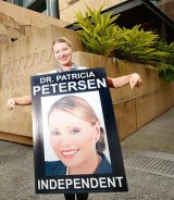 Patricia Petersen previously appeared outside Ipswich Courthouse wearing billboard signs in protest over council fines relating to electoral signs.