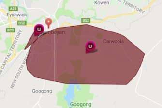 A power outage affected customers in Queanbeyan and Canberra on Monday night.