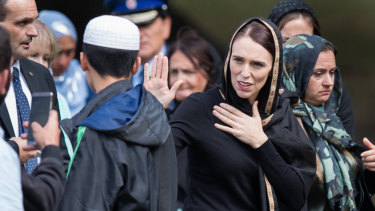 New Zealand Prime Minister Jacinda Ardern at the Al Noor Mosque for a national call to prayer on Friday.