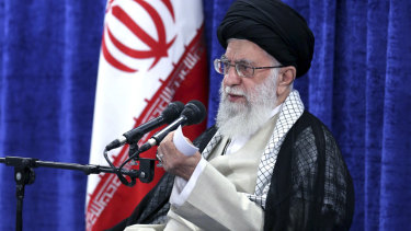 Ayatollah Ali Khamenei speaks in a meeting with governmental officials in Tehran on Tuesday.