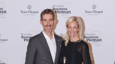 Husband and wife and Skip Capital co-founders Scott Farquhar and Kim Jackson at the Veuve Clicquot Business Woman of the Year awards.