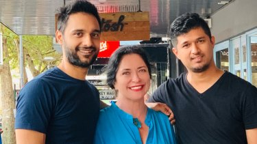 Bar Coluzzi's new owner Wendy Gilbert-Grey with long term staffers Harry Singh (left) and Shrawan Shestha.