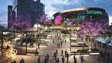 Concept designs for the proposed 17,000-seat Brisbane Live arena at Roma Street.