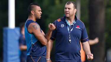 Kurtley Beale and Michael Cheika during the title-winning 2014 Super Rugby season.