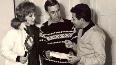 Ken Shadie (right) with actress Carol Raye and director David Cahill.