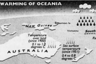 Warming of Oceania graphic, published in the Herald, 11 October 1994