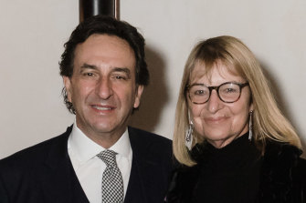 Stan and Judy Sarris at a social event in 2019.