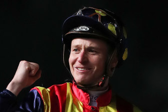 James McDonald celebrates the group 1 Moir Stakes win on Nature Strip.