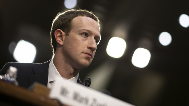 Mark Zuckerberg, chief executive officer and founder of Facebook, during the hearing.