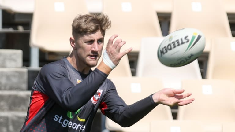 Big challenge: Zac Lomax at training on Wednesday.