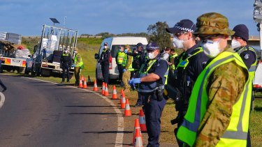 Police officers and members of the ADF have been patrolling borders around the country together.