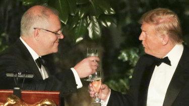 Prime Minister Scott Morrison and US President Donald Trump in the Rose Garden of the White House.