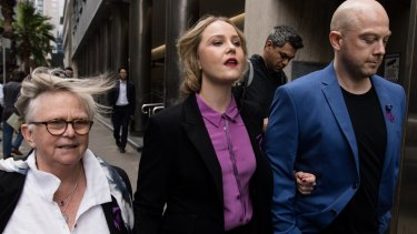 Australian actress Eryn Norvill arrives at the Supreme Court to hear the defamation case by Geoffrey Rush against The Daily Telegraph.