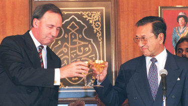 The feuding years: Paul Keating visiting Mahathir Mohamad.